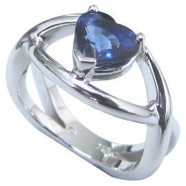 18K White Gold Solitaire Ring : 2.00 ct Sapphire