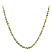 14K Yellow Gold Diamond Cut Hollow Rope Chain