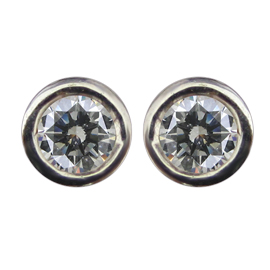 14K White Gold Stud Earrings : 0.20 cttw Diamond