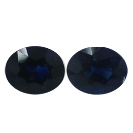 1.15 cttw Pair of Oval Blue Sapphires : Rich Royal Blue