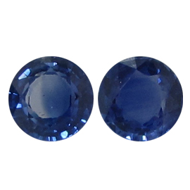 0.84 cttw Pair of Round Blue Sapphires : Royal Blue