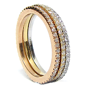 18k Tri Color 1.00cttwStackable Diamond Rings