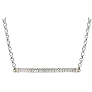 14K White Gold 0.30cttw Diamond Bar Necklace