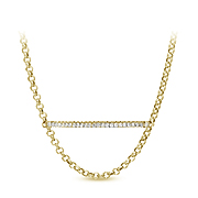 14K Yellow Gold 0.30cttw Diamond Bar Necklace