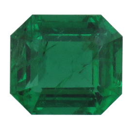 0.52 ct Emerald Cut Emerald : Rich Grass Green
