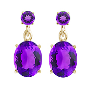 18K Yellow Gold 4.50cttw Amethyst Floating Earrings
