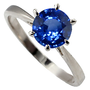 14K White Gold 1.00ct Blue Sapphire Ring