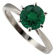 14K White Gold 1.00ct Emerald Ring