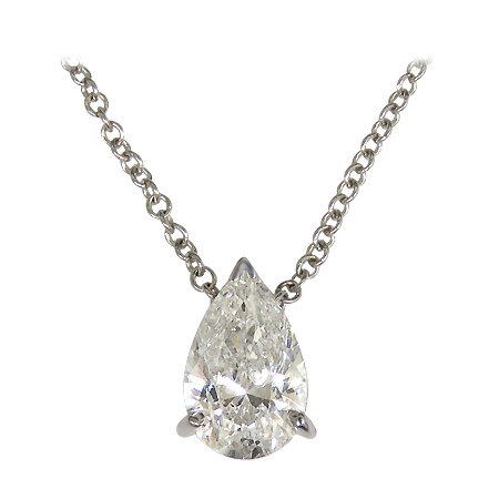 18K White Gold Solitaire Pendant : 0.70 cttw Diamond