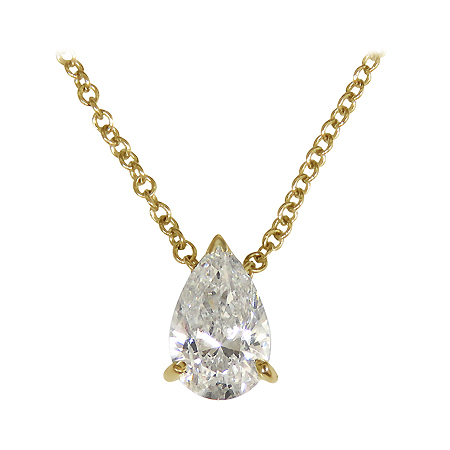 18K Yellow Gold Solitaire Pendant : 0.50 cttw Diamond