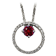 14K White Gold 0.66cttw Ruby & Diamond Pendant
