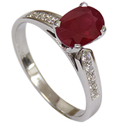 14K White Gold 2.22cttw Ruby & Diamond Ring