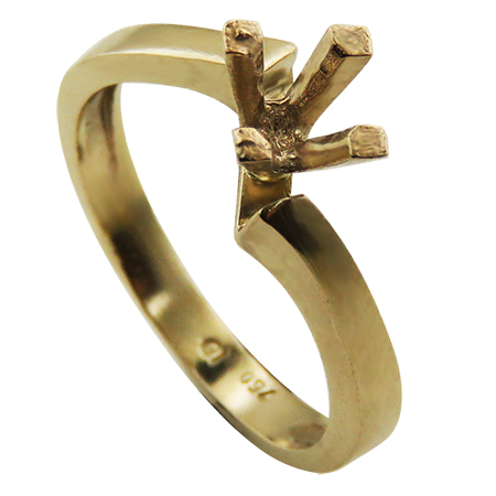18K Yellow Gold Solitaire Setting