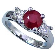 Platinum 1.75cttw Ruby & Diamond Ring