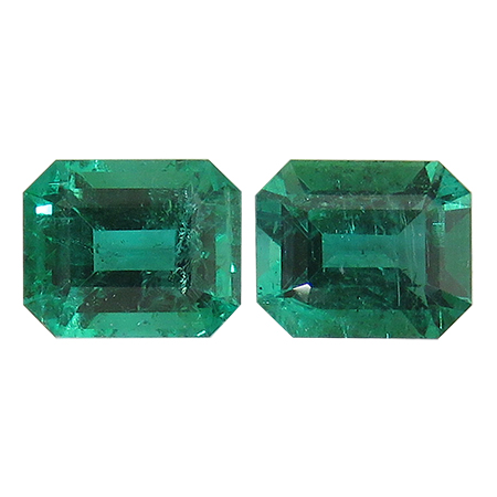 4.25 cttw Pair of Emerald Cut Emeralds : Rich Green