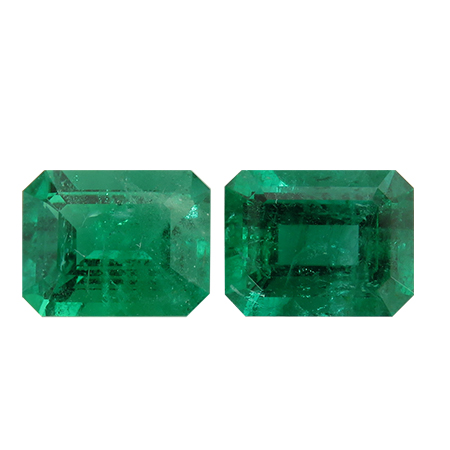 3.33 cttw Pair of Emerald Cut Emeralds : Rich Green