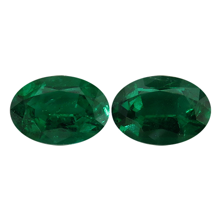 2.00 cttw Pair of Oval Emeralds : Rich Darkish Green