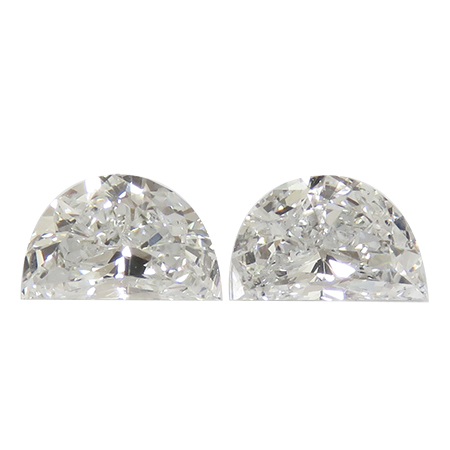 0.71 cttw Pair of Half Moon Diamonds : E / SI1