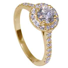 18K Yellow Gold Multi Stone Ring : 1.00 cttw Diamonds