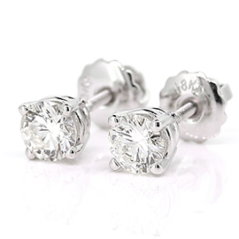 14K White Gold Stud Earrings : 0.80 cttw Diamonds