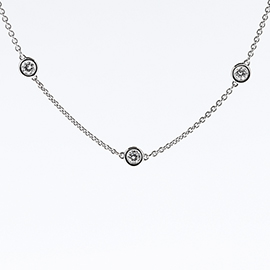 14K White Gold Multi Stone by the Yard Necklace : 0.90 cttw Diamonds