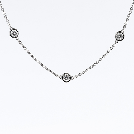 14K White Gold Multi Stone by the Yard Necklace : 0.45 cttw Diamonds