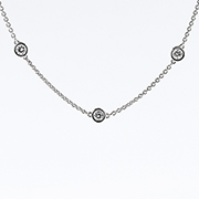 18K White Gold 0.70cttw Stone by the Yard Necklace