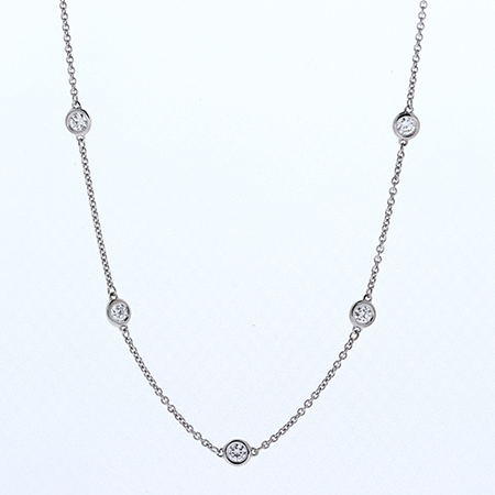 18K White Gold  Diamond by the Yard Necklace : 0.50 cttw Diamonds