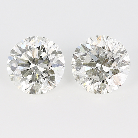 3.32 cttw Pair of Round Diamonds : H / I1