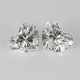 2.00 cttw Pair of Heart Shape Diamonds : F / SI1