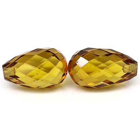 4.43 cttw Pair of Briolette Yellow Sapphires : Deep Darkish Yellow