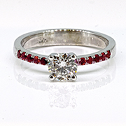 14K White Gold 0.50cttw Diamond & Ruby Ring