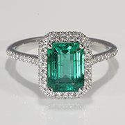 18K White Gold 2.00cttw Emerald & Diamond Ring