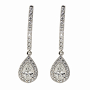 14K White Gold 1.75cttw Diamond Earrings