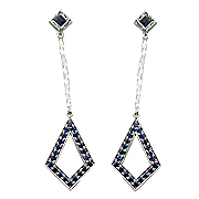 18K White Gold 4/5cttw Sapphire Drop Earrings