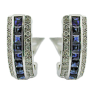 18K White Gold 2.09cttw Sapphire & Diamond Earrings