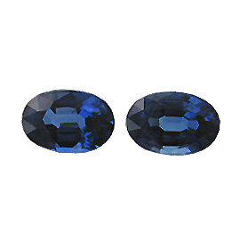 3.09 cttw Pair of Oval Sapphires : Royal Blue