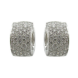 18K White Gold Hoop Earrings : 1.60 cttw Diamonds