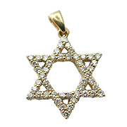 18K Yellow Gold 0.66cttw Diamond Star of David Pendant