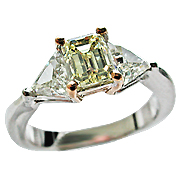 18K Two Tone 1.72 cttw Fancy Diamond Ring