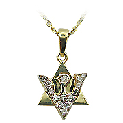 18K Yellow Gold 1/6cttw Diamond Star of David Pendant
