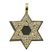 18K Yellow Gold 0.30cttw Diamond Star of David Pendant