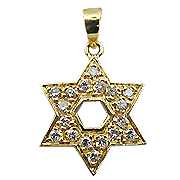 18K Yellow Gold 0.25cttw Diamond Star of David Pendant
