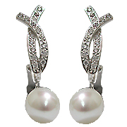 14K White Gold Pearl & Diamond Earrings