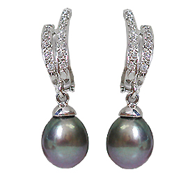 14K White Gold Tahitian Pearl & Diamond Drop Earrings