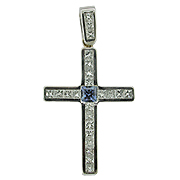 18K White Gold 1.15cttw Sapphire & Diamond Cross Pendant