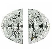 0.53 cttw Pair of Half Moon Diamonds : G / VVS2