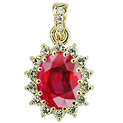 18K Yellow Gold 2.50cttw Ruby & Diamond Pendant