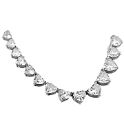18K White Gold 16.00 cttw Heart-Shape Diamond Necklace
