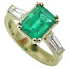 18K Yellow Gold 1.50cttw Emerald & Diamond Ring